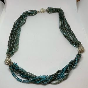 3 blue and teal bead convertible bracelets